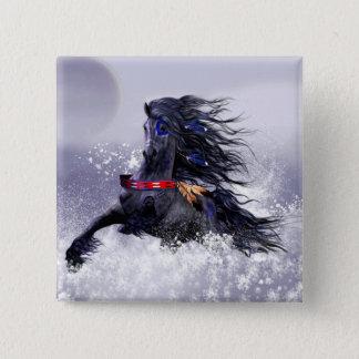 Black Blue Majestic Stallion Indian Horse in Snow 15 Cm Square Badge