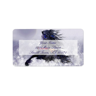 Black Blue Majestic Stallion Indian Horse in Snow Address Label