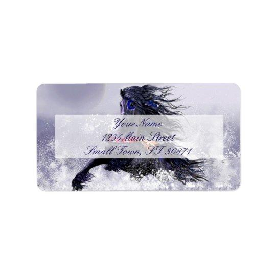 Black Blue Majestic Stallion Indian Horse in Snow Address Label