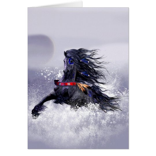Black Blue Majestic Stallion Indian Horse in Snow