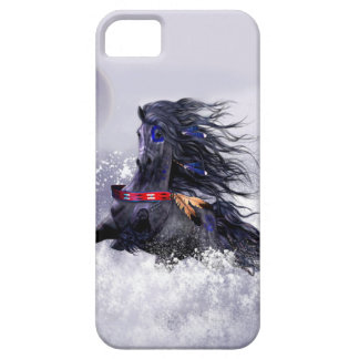 Black Blue Majestic Stallion Indian Horse in Snow Case For The iPhone 5