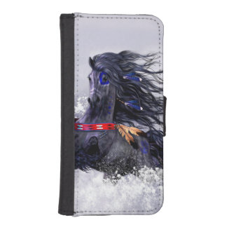 Black Blue Majestic Stallion Indian Horse in Snow iPhone SE/5/5s Wallet Case