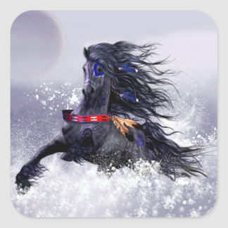 Black Blue Majestic Stallion Indian Horse in Snow Square Sticker
