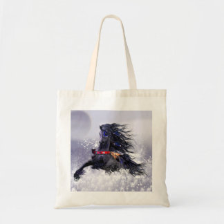 Black Blue Majestic Stallion Indian Horse in Snow Tote Bag