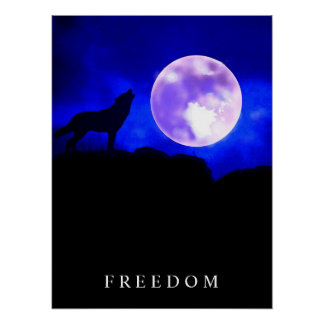 Black Blue Motivational Freedom Wolf Howls Poster