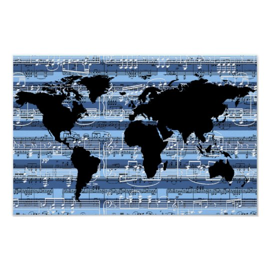 black/blue music to the world poster