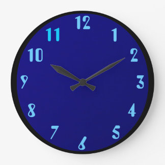 Black Blue on Blue Large Clock