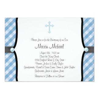 Black Blue Pearl Cross Blue Gingham Christening Card