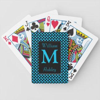 Black Blue Polka Dots Monogrammed Playing Cards