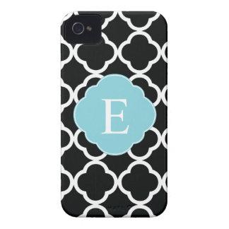 Black Blue Quatrefoil Monogram iPhone 4 Covers
