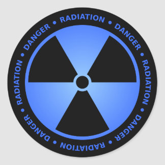 Black & Blue Radiation Symbol Sticker w/ Text