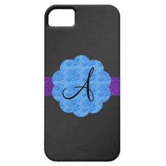 Black blue roses monogram iPhone 5 cases