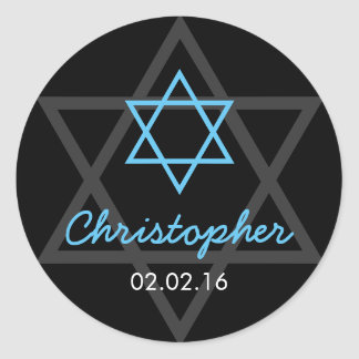 Black Blue Star of David Personalized Bar Mitzvah Classic Round Sticker