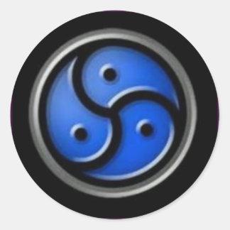 black blue triskellion round sticker