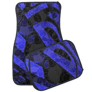 Black Blue Unique Abstract Floor Mat