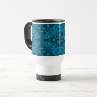 Black & Blue Vintage Kaleidoscope Travel Mug