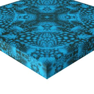 Black & Blue  Vintage Kaleidoscope Wrapped Canvas