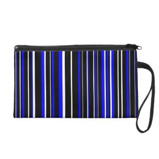 Black, Blue, White Barcode Stripe Wristlet Purses