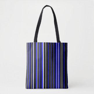 Black, Blue, White Barcode Stripe Tote Bag