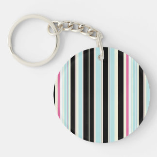 Black Blue White Pink Vertical Stripe Pattern Double-Sided Round Acrylic Key Ring