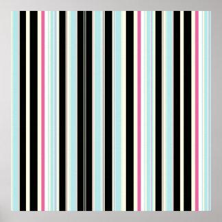 Black Blue White Pink Vertical Stripe Pattern Poster
