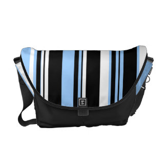 Black blue white stripe pattern commuter bag