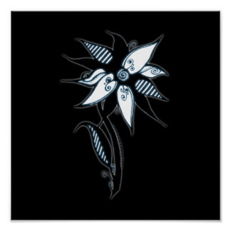 Black Blue White Swirly Flower by Naomi Poster