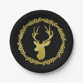 Black Blue Wreath Deer Antlers Christmas Paper Plate