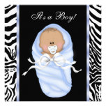 Black Blue Zebra Baby Boy Shower Invitations