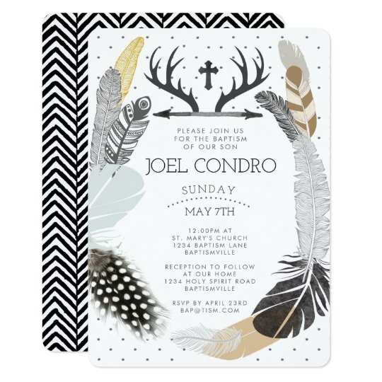 Black Boho Feather Baptism Invitation