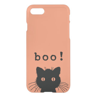 Black Boo Kitty Cat on Any Custom Color iPhone 7 Case