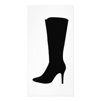 Black boot woman photo card template