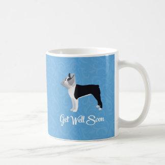 Black Boston Terrier Get Well Soon Funny Dog Basic White Mug