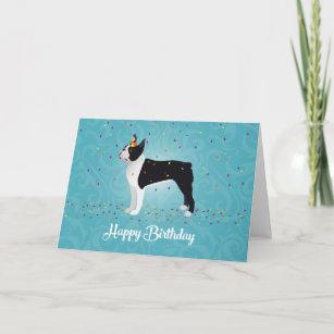 Black Boston Terrier Happy Birthday Design Card