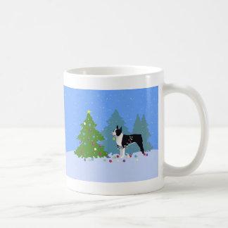 Black Boston Terrier in Christmas Forest Coffee Mug