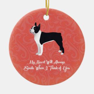 Black Boston Terrier My Heart Will Always Smile Christmas Ornament