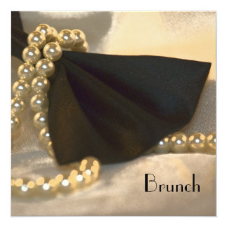 Black Bow Tie and White Pearls Post Wedding Brunch 13 Cm X 13 Cm Square Invitation Card