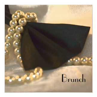 Black Bow Tie and White Pearls Post Wedding Brunch Card