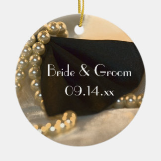 Black Bow Tie and White Pearls Wedding Christmas Ornament