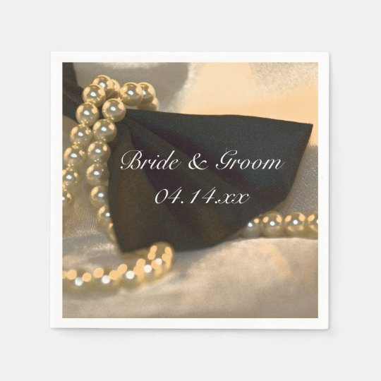 Black Bow Tie and White Pearls Wedding Paper