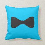 Black Bow Tie Polka Dot Throw Pillow