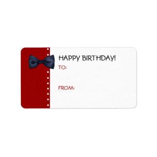 Black BowTie Birthday Gift Tag Label Address Label