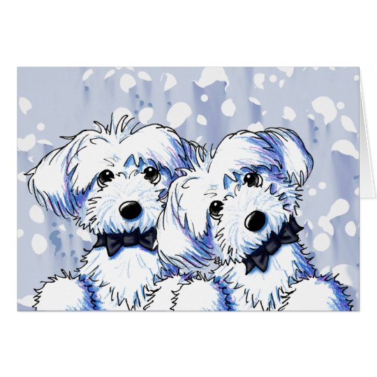 Black Bowtie Maltese Dogs Card