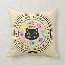 Black Boy Cat Lover's Kitty Art Throw Pillow
