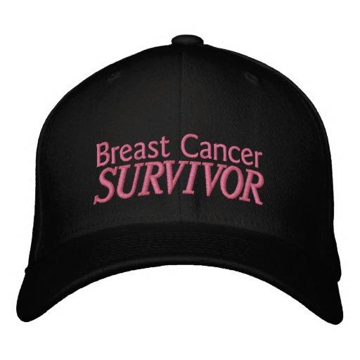 """Black """"Breast Cancer Survivor"""" Hat Embroidered Hat"""