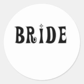 Black Bride Round Sticker