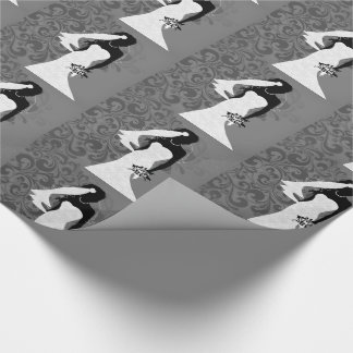 Black Bride Silhouette in a White Wedding Dress Wrapping Paper
