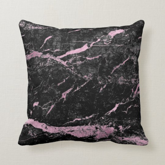 Black Bright Pink Rose Gold Abstract Marble Glam