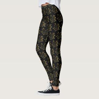 Black Bronze Yellow Brown Tropical Flower Pattern Leggings