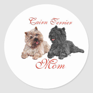 Black & Brown Cairn Terriers Mothers Day Sticker